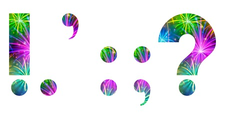 colon: Set of mathematical and punctuation signs exclamation point, period, comma, colon, semicolon, question mark, stylized colorful holiday firework with stars and flares, elements for web design. Eps10, contains transparencies. Vector Illustration