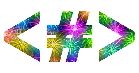 than: Set of signs hash mark, greater-than sign, less than sign, stylized colorful holiday firework with stars and flares, elements for web design. Eps10, contains transparencies. Vector
