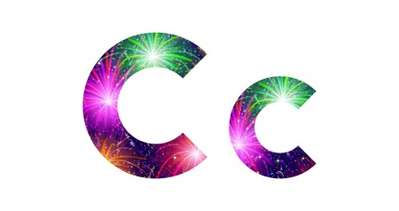 Set of English letters signs uppercase and lowercase C, stylized colorful holiday firework with stars and flares, elements for web design. Eps10, contains transparencies. Vector