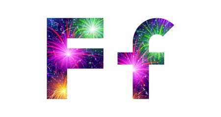 Set of English letters signs uppercase and lowercase F, stylized colorful holiday firework with stars and flares, elements for web design. Eps10, contains transparencies. Vector