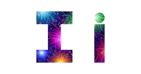 Set of English letters signs uppercase and lowercase I, stylized colorful holiday firework with stars and flares, elements for web design. Eps10, contains transparencies. Vector