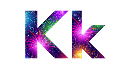 Set of English letters signs uppercase and lowercase K, stylized colorful holiday firework with stars and flares, elements for web design. Eps10, contains transparencies. Vector Vector