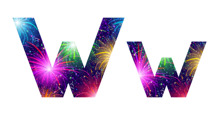 Set of English letters signs uppercase and lowercase W, stylized colorful holiday firework with stars and flares, elements for web design. Eps10, contains transparencies. Vector Vector