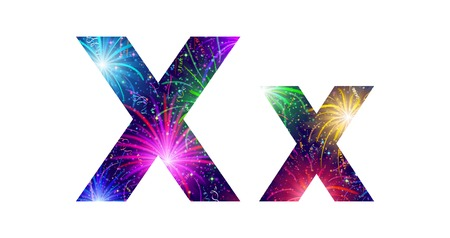 Set of English letters signs uppercase and lowercase X, stylized colorful holiday firework with stars and flares, elements for web design. Eps10, contains transparencies. Vector