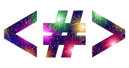 less: Set of signs hash mark, greater-than sign, less than sign, stylized colorful holiday firework with stars and flares, elements for web design. Eps10, contains transparencies. Vector