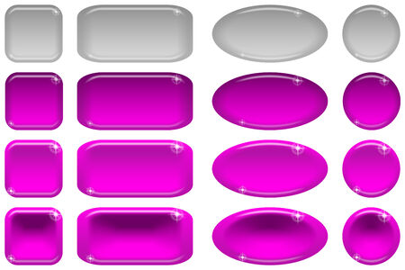 clicked: Set of glass lilac buttons, computer icons, in various states, normal, illuminated, clicked, inactive. Elements for web design, isolated on white background. Vector eps10, contains transparencies