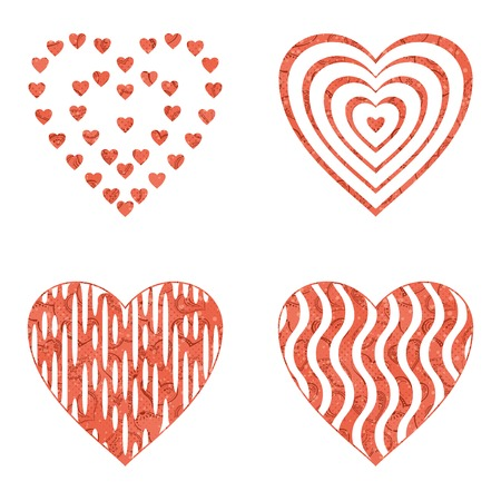 14th: Set of valentine hearts with abstract patterns, holiday symbols of love, elements for web design.