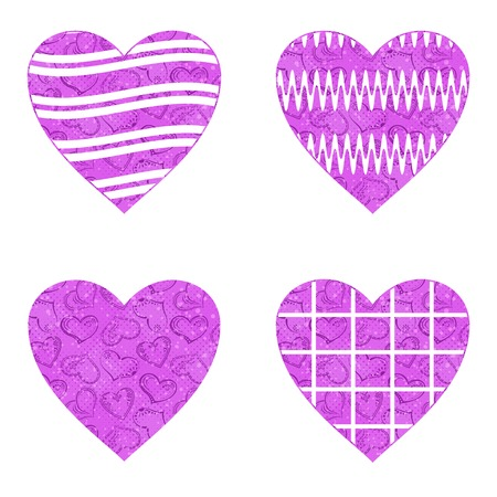 Set of valentine hearts with abstract patterns, holiday symbols of love, elements for web design.  Vector