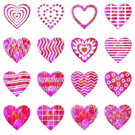 Set of valentine hearts with abstract patterns, holiday symbols of love, elements for web design. Eps10, contains transparencies. Vector Vector