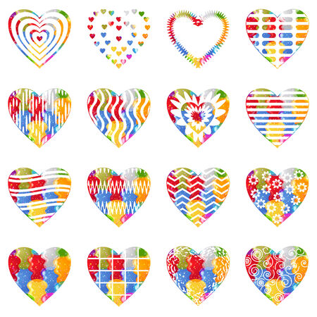 Set of valentine hearts with abstract patterns, holiday symbols of love, elements for web design. Eps10, contains transparencies. Vector