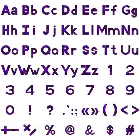 signos matematicos: Conjunto de letras, n�meros y signos matem�ticos puntuacion estilizadas espacio violeta con confeti de colores. Elementos para el dise�o de t�tulos. Vectores