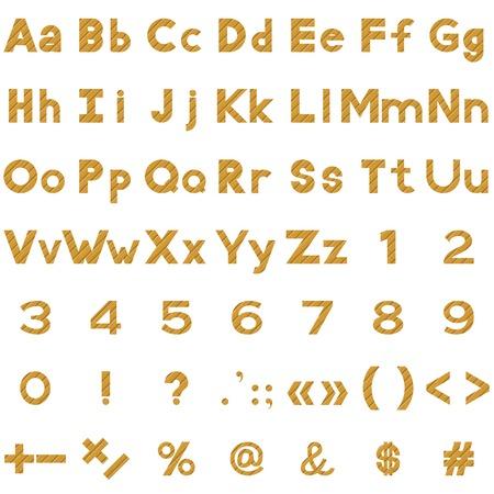 signos matematicos: Conjunto de letras, n�meros y signos matem�ticos puntuacion estilizadas tablones de madera de color amarillo. Elementos para el dise�o de t�tulos. Vector