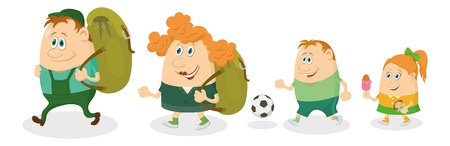 Cheerful family of tourists, father and mother with backpacks, son with soccer ball and daughter with ice-cream going on vacation. Vector Vector
