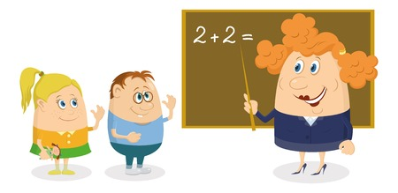 arithmetic: School teacher solving arithmetic exercises on blackboard with two kids, boy and little girl, funny cartoon characters isolated on white background. Vector Illustration