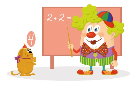 trained: Cheerful kind circus clown in colorful clothes with trained dog solving arithmetic exercises on a blackboard, funny cartoon characters isolated on white background. Vector
