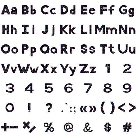 signos matematicos: Conjunto de letras, n�meros, puntuacion y signos matem�ticos estilizado serpentinas de colores y estrellas en negro. Elementos para el dise�o de t�tulos. Eps10, contiene las transparencias. Vector