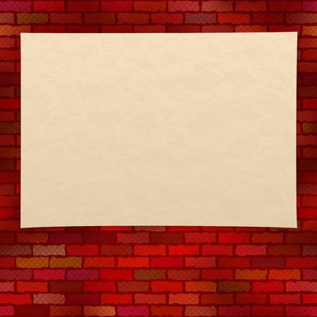 mur grunge: Feuille de vieux papier jauni sur un mur grunge rouge brique avec effet en demi-teinte, la conception de fond. Eps10, contient des transparents. Vecteur Illustration