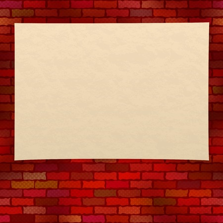 yellowed: Sheet of old yellowed paper on a brick red grunge wall with half-tone effect, design background. Eps10, contains transparencies. Vector