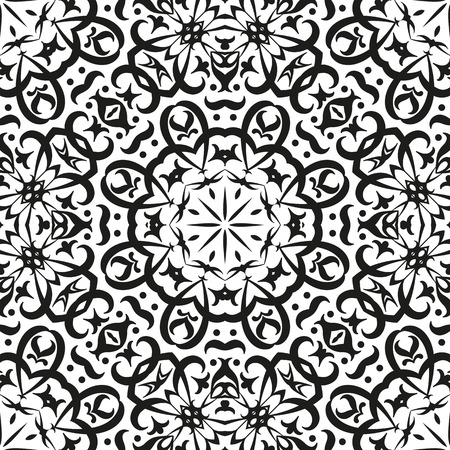 symbolical: Abstract seamless background with black symbolical floral patterns on white. Vector