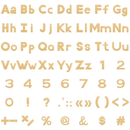 signos matematicos: Conjunto de letras, n�meros y signos matem�ticos puntuacion estilizadas papel de pergamino amarillo. Elementos para el dise�o de t�tulos. Vector Vectores