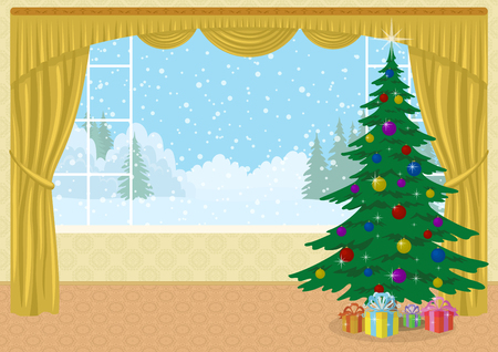 christmas room: Christmas holiday background, Room with fir tree and gift boxes in front of the window with view of winter forest glade and snowy sky, cartoon illustration, contains transparencies. Vector