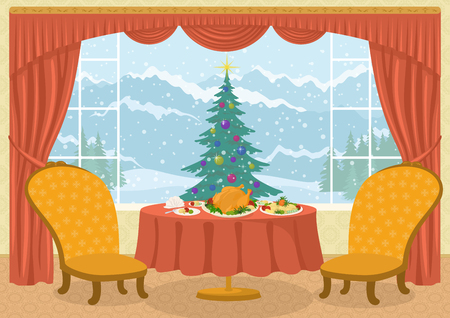 mountain view: Christmas holiday background, Room with two chairs and dining table with festive meals on platters in front of the window with fir tree and winter mountain view, cartoon illustration. Eps10, contains transparencies. Vector