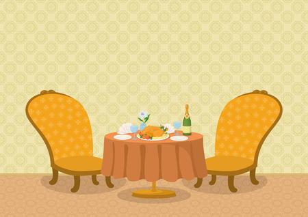 mesa de comedor: Restaurante de fondo con la pared amarilla, dos sillas y una peque�a mesa de comedor con platos, servilletas, vasos, botellas de champa�a y el pollo en un plato, ilustraci�n de dibujos animados. Eps10, contiene las transparencias. Vector