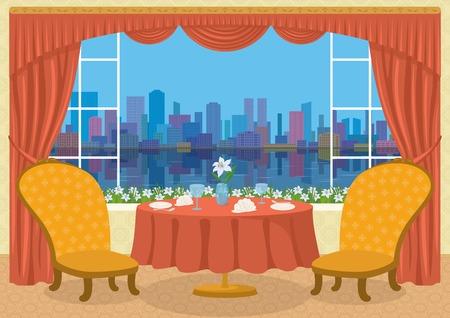 mesa de comedor: Restaurante de fondo con dos sillas y una mesa de comedor con platos, servilletas, vasos de flores y en frente de la ventana con la vista de la gran ciudad, ilustraci�n de dibujos animados. Eps10, contiene las transparencias. Vector