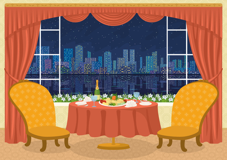 big cartoon: Restaurant background with two chairs and dining table with plates, napkins, glasses, champagne bottle and potato dish on a platter in front of the window with view of big night city, cartoon illustration. contains transparencies. Vector