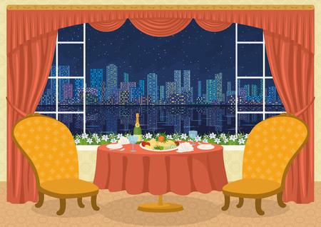 mesa de comedor: Restaurante de fondo con dos sillas y una mesa de comedor con platos, servilletas, vasos, botellas de champa�a y plato de patatas en una bandeja delante de la ventana con vista del gran noche de la ciudad, ilustraci�n de dibujos animados. contiene transparencias. Vector