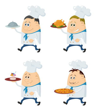 roast turkey: Set of Chefs with Different Meals on Their Trays, Pizza, Roast Turkey, Ice Cream, Funny Cartoon Characters Isolated on White Background. Eps10, contains transparencies. Vector
