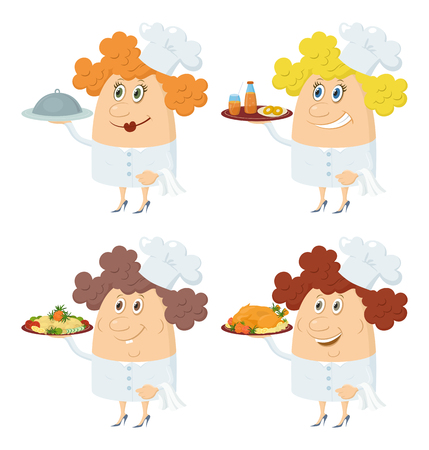 roast turkey: Set of Chefs Women with Different Meals on Their Trays, Juice, Biscuits, Potatoes, Roast Turkey, Funny Cartoon Characters Isolated on White Background. Eps10, contains transparencies. Vector