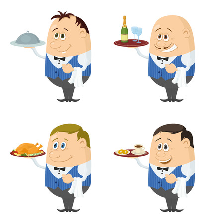 courteous: Set of Waiters in Blue Uniform with Different Meals on Their Trays, Coffee, Champagne and Roast Turkey, Funny Cartoon Characters Isolated on White Background. Eps10, contains transparencies. Vector