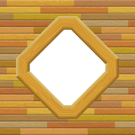 parallelogram: Wooden Frame on a Wall with Empty White Space, Background for Your Image or Text. Vector Illustration