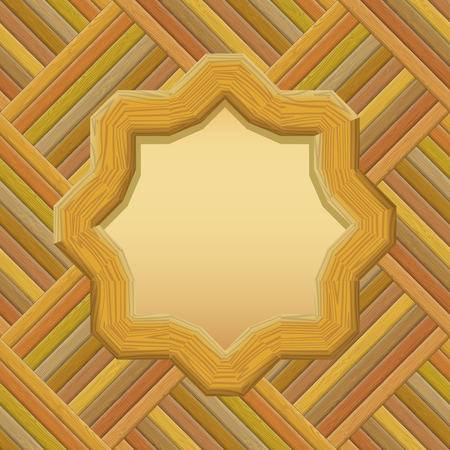 timbered: Wooden Frame with Empty Paper on a Wall. Vector