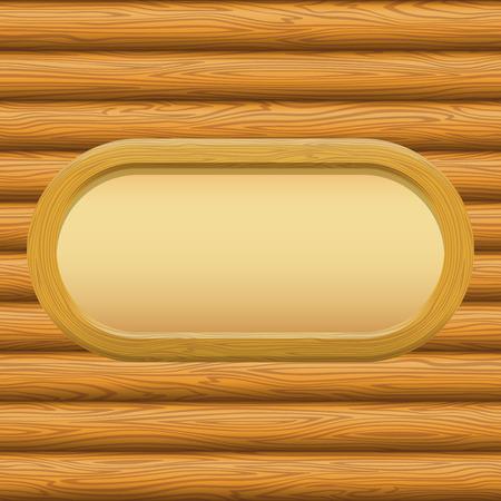 furnier: H�lzerne Oval Frame mit leeren Papier auf einem Log-Wand. Vektor