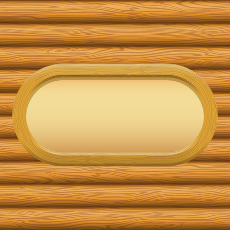 log wall: Wooden Oval Frame with Empty Paper on a Log Wall. Vector Illustration