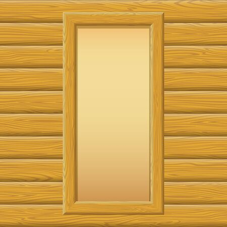 log wall: Wooden Rectangular Frame with Empty Paper on a Log Wall. Vector Illustration