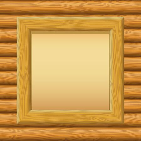 timbered: Wooden Frame with Empty Paper on a Timbered Wall. Vector