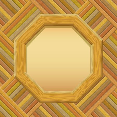 log wall: Wooden Octagon Frame with Empty Paper on a Wall. Vector