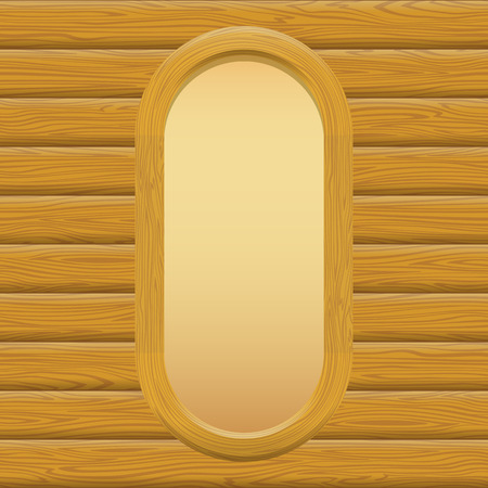 timbered: Wooden Oval Frame with Empty Paper on a Log Wall. Vector Illustration