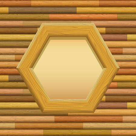log wall: Wooden Hexagon Frame with Empty Paper on a Wall. Vector Illustration