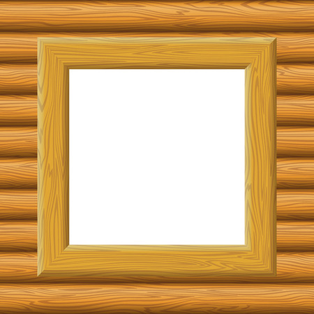 log wall: Wooden Square Frame on a Wall with Empty White Space, Background for Your Image or Text. Vector Illustration