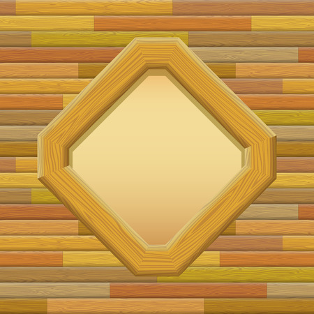 log wall: Wooden Frame on a Wall with Empty White Space, Background for Your Image or Text. Vector Illustration
