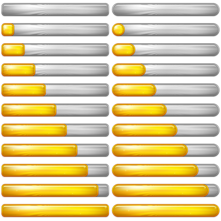 Set of Glass Colorful Loading Progress Bars at Different Stages, Elements for Web Design. Eps10, contains transparencies. Vector