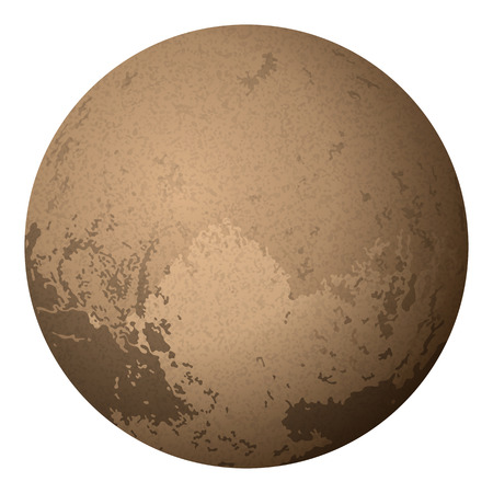 pluto: Realistic Dwarf Planet Pluto Isolated on White Background, Contains Transparencies. Vector Illustration