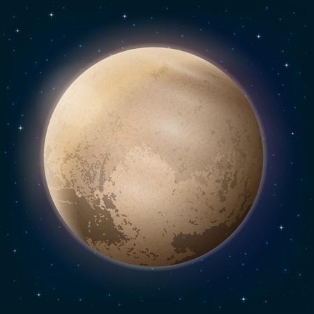 Space background, réaliste planète naine Pluton et étoiles. Contient Transparents. Vecteur