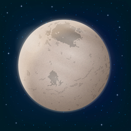 Space Background, Realistic Charon, Moon of Dwarf Planet Pluto and Stars. Elements of This Image Furnished by NASA, Solarsystem.Nasa.Gov. Eps10, Contains Transparencies. Vector