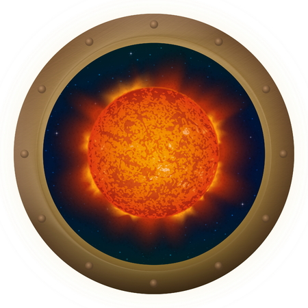 protuberances: Space ship round window porthole with sun and stars, isolated.