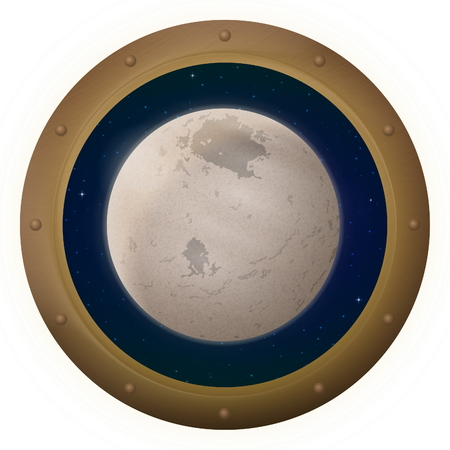 round window: Space Ship Round Window Porthole with Charon, Moon of Dwarf Planet Pluto and Stars, Isolated.  Stock Photo